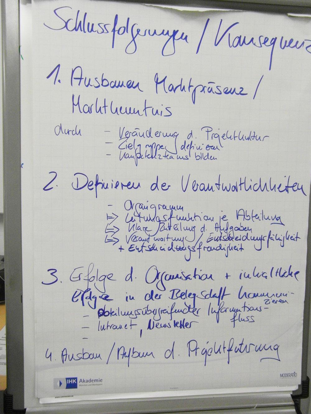 Workshop: Pinwand mit Schlussfolgerungen und Konsequenzen